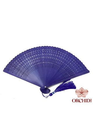 112202 blue | Plain Design | Handmade Tortoise-Shell Bamboo Chinese Style Hand Fan