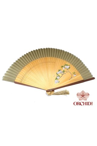 1122 plum | Handpainted Design Tortoise-shell Bamboo And Silk Folding Hand Fan