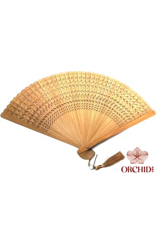 1122 brown | Plain Design | Handmade Tortoise-Shell Bamboo Chinese Style Hand Fan