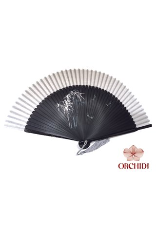 1122 silver bamboo | Handpainted Design Tortoise-shell Bamboo And Silk Folding Hand Fan