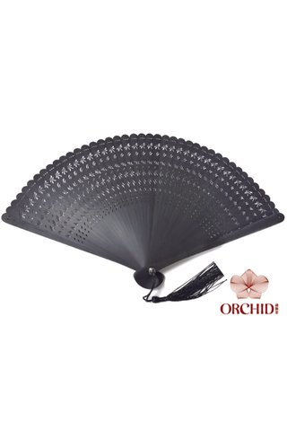 12201 black | Plain Design | Handmade Tortoise-Shell Bamboo Chinese Style Hand Fan