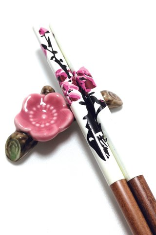 Pink Flower Design Natural Wooden Chopsticks and Holders Dining Set
