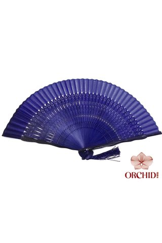 497 20.5cm blue | Chinese Handmade Tortoise-shell Bamboo And Silk Fan