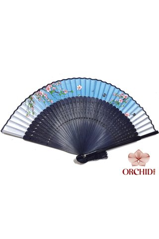 497b peach | Chinese Hand Fan Made of Tortoise-shell Bamboo And Silk