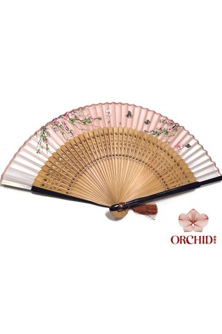 497brown p | Chinese Hand Fan Made of Tortoise-shell Bamboo And Silk