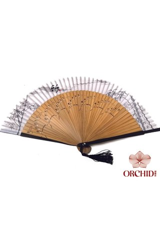 497 new bamboo | Chinese Hand Fan Made of Tortoise-shell Bamboo And Silk
