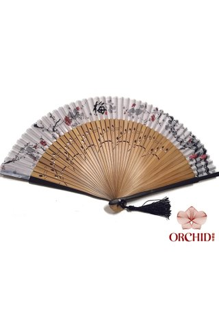 497 new plum | Chinese Hand Fan Made of Tortoise-shell Bamboo And Silk