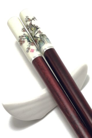 Imitation Porcelain Plum Design | Natural Wooden Chopsticks and Holders Dining Set