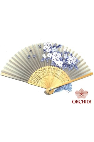 827-12 | Handmade Bamboo And Silk Hand Fan