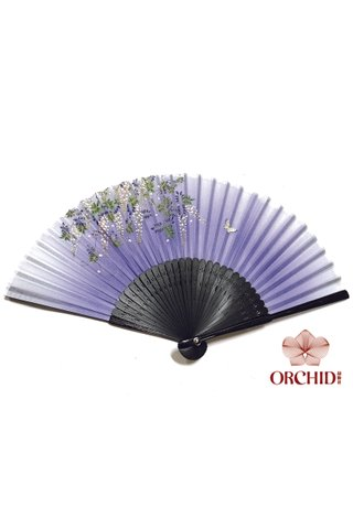 827-20 | Handmade Butterfly And Flower Design Bamboo Silk Hand Fan