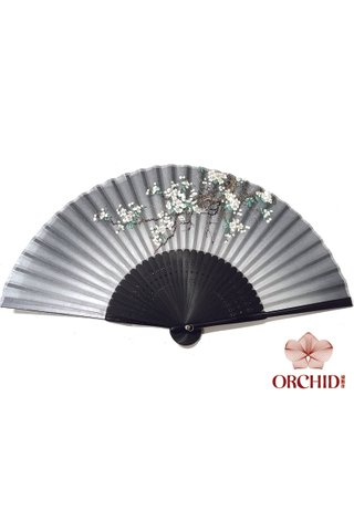 82732 | Bamboo And Silk Flower Design Hand Fan