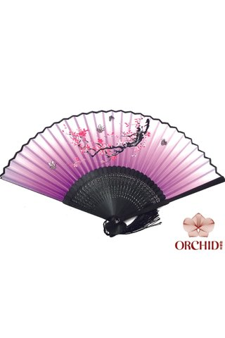 82794 | Bamboo And Silk Flower Design Hand Fan