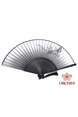 82798 | Bamboo And Silk Flower Design Hand Fan