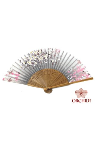 827 sakura star | Bamboo And Silk Flower Design Hand Fan