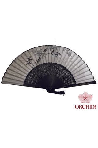 8400003 | Chinese Style Handmade Tortoise-shell Bamboo And Silk Hand Fan