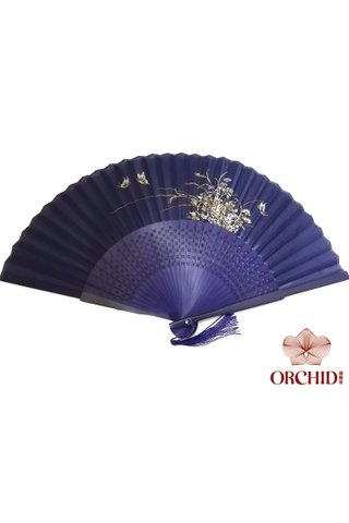 8400003 blue base gold orchid | Chinese Style Handmade Tortoise-shell Bamboo And Silk Hand Fan