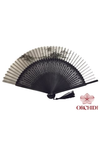 8400003 mountain | Chinese Style Handmade Tortoise-shell Bamboo And Silk Hand Fan
