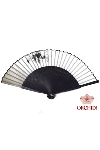 8400003 grape | Chinese Style Handmade Tortoise-shell Bamboo And Silk Hand Fan