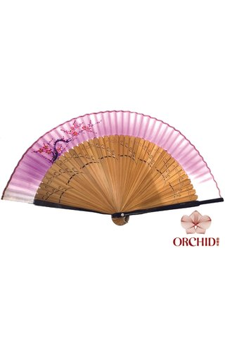 8449706 | Handpainted Design Tortoise-shell Bamboo And Silk Folding Hand Fan
