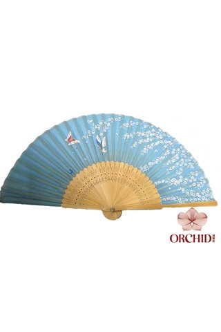 84827-21 | Bamboo And Silk Flower Design Hand Fan