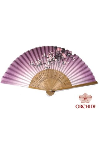 8482702 | Bamboo And Silk Flower Design Hand Fan