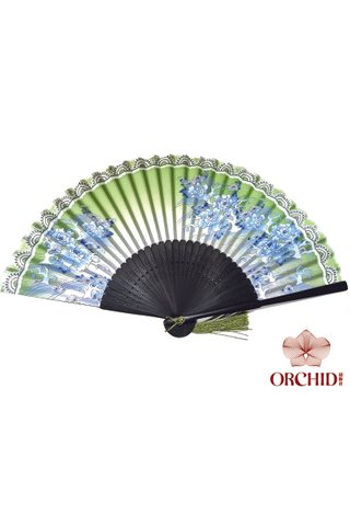 8482732 Green | Chinese Style Flower Design Hand Fan