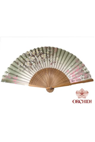8482755 | Bamboo And Silk Floer Design Hand Fan