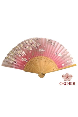 8482788lp | Bamboo And Silk Flower Design Hand Fan