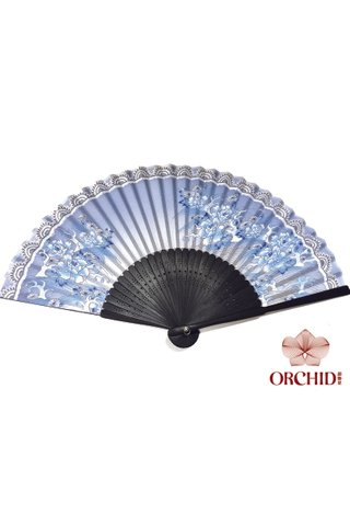 8482792 blue | Chinese Style Flower Design Hand Fan