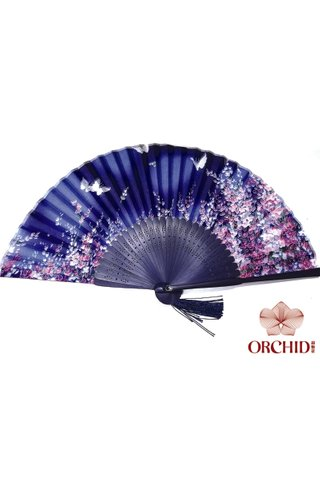 84827 blue butterfly |Butterfly And Flower Design Hand Fan