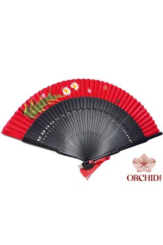 8486105 | Handpainted Design Tortoise-shell Bamboo And Silk Folding Hand Fan