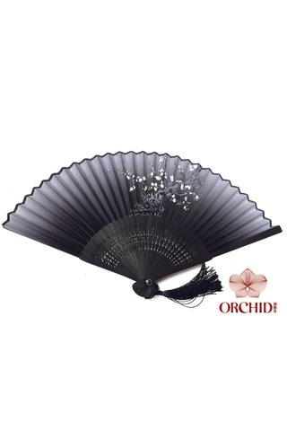 849-01 | Bamboo And Silk Flower Design Hand Fan