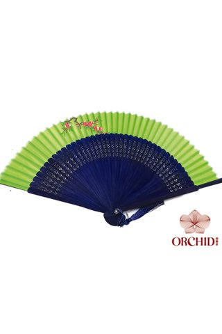 849-02 blue | Handpainted Design Tortoise-shell Bamboo And Silk Folding Hand Fan