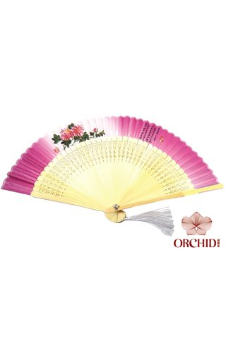 849-05 | Handpainted Design Tortoise-shell Bamboo And Silk Folding Hand Fan