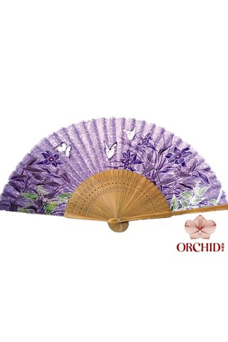 849-35 | Bamboo And Silk Flower Design Hand Fan