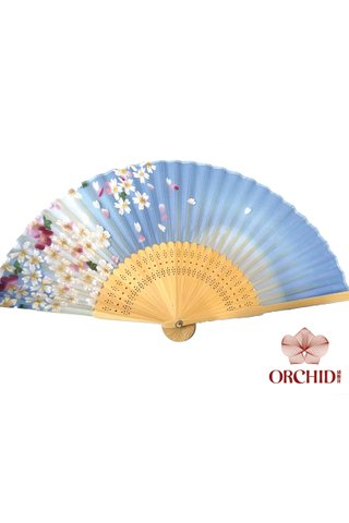 84932b | Handmade Flower Design Bamboo And Silk Fan