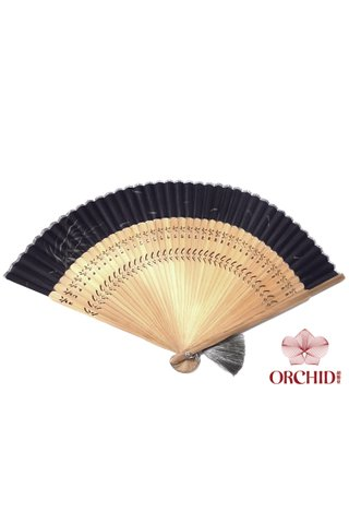861 bamboo | Chinese Hand Fan Made of Tortoise-shell Bamboo And Silk
