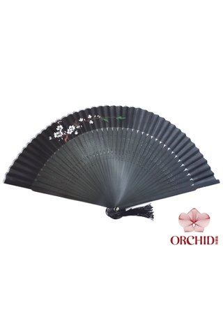861 black base white plum | Handpainted Design Tortoise-shell Bamboo And Silk Folding Hand Fan