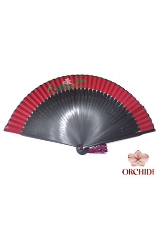 861 red lotus | Handpainted Design Tortoise-shell Bamboo And Silk Folding Hand Fan