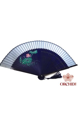 861 light blue | Handpainted Design Tortoise-shell Bamboo And Silk Folding Hand Fan