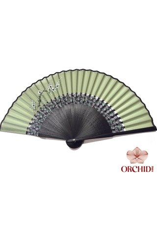 861 plum | Tortoise-shell Bamboo And Silk Handmade Foldable Fan