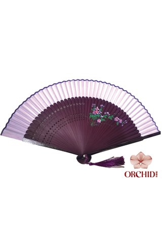 861 purple | Handpainted Design Tortoise-shell Bamboo And Silk Folding Hand Fan