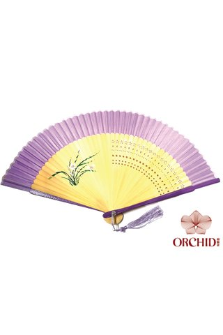 861 purple orchid | Handpainted Design Tortoise-shell Bamboo And Silk Folding Hand Fan