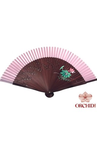 861 red base red lotus | Handpainted Design Tortoise-shell Bamboo And Silk Folding Hand Fan