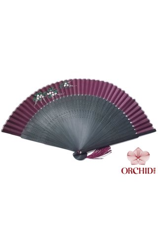 861 vine | Handpainted Design Tortoise-shell Bamboo And Silk Folding Hand Fan