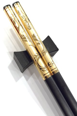 Gold Base Gold Dragon Design | Alloy Chopsticks and Holders Dining Set