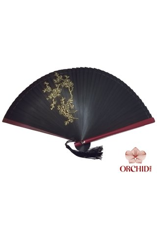 black base gold plum | Handpainting Shiny Flower Design | Handmade Tortoise-shell Bamboo Folding Hand Fan