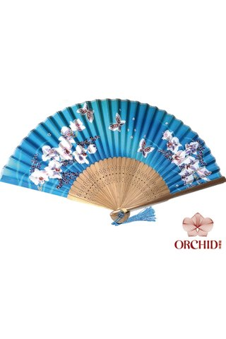 blue orchid | Butterfly and Flower Design Hand Fan