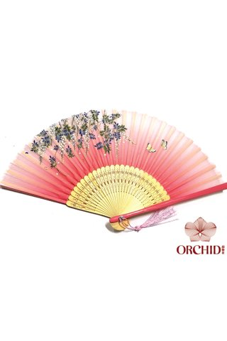 butterfly pink | Handmade Butterfly And Flower Design Bamboo Silk Hand Fan