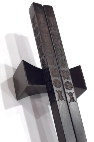 Carved 8 Long Life Design | Ebony Wood Chopsticks and Holders Dining Set